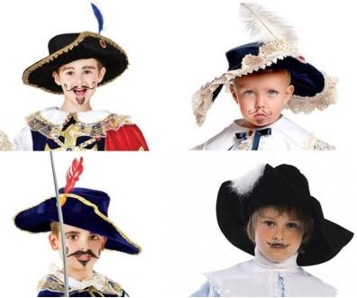 4 головы детей с нарисованными усами
