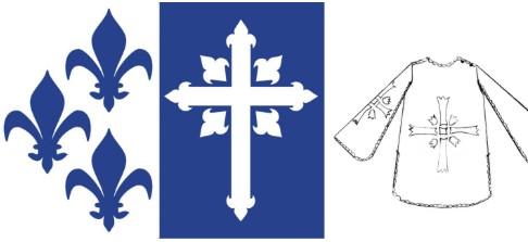 Изображения синих лилий, креста и черно-белая накидка