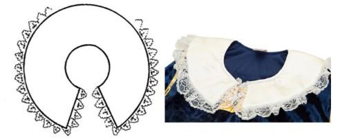 Схема воротничка и белый воротничок на синей ткани