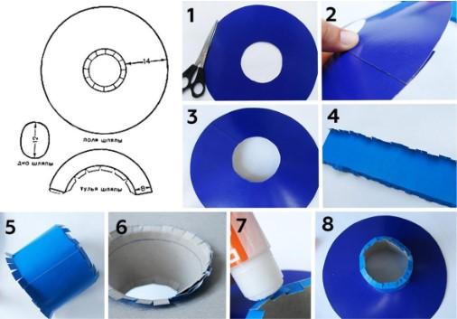 Черно-белая схема и 8 картинок с синими кругами