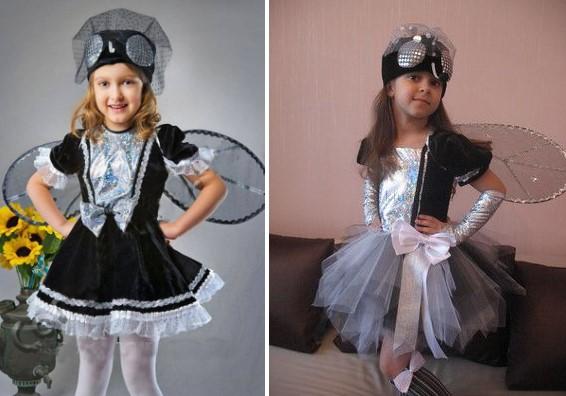 Костюм мухи с крыльями для девочки черно-белый