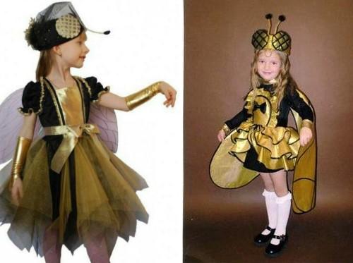Костюмы мухи с крыльями для девочек золотисто-чёрные