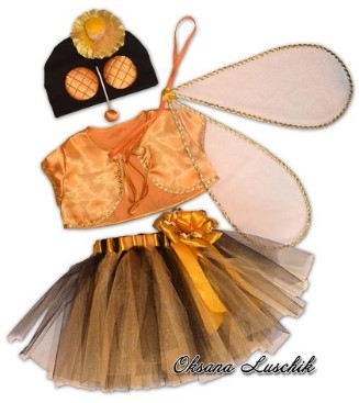 Костюм мухи с шапочкой-маской и крыльями для девочки