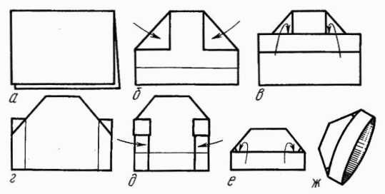 Схема как сложить пилотку из бумаги