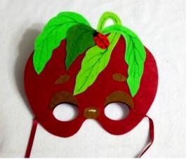 Красная маска с листьями