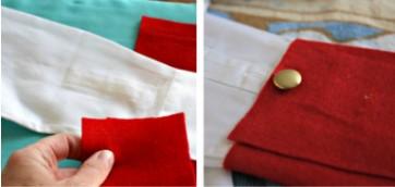 Две картинки, красная ткань на белой и пуговица