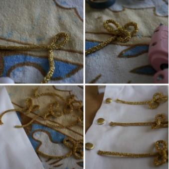 Четыре картинки, петли из золотистого шпурка