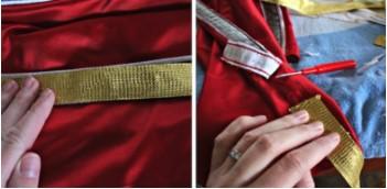 две картинки, золотая лента на красных штанах