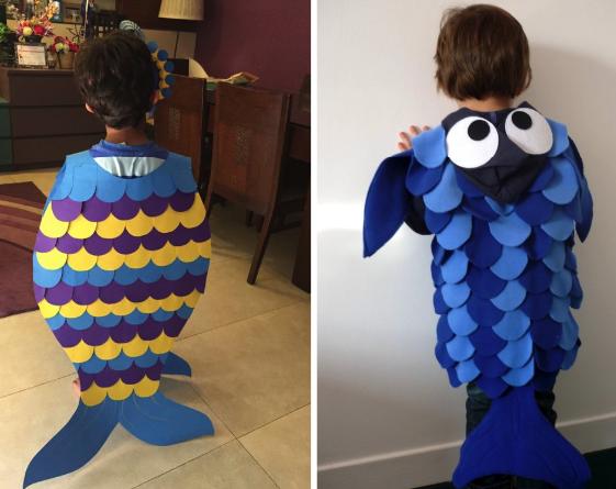 Детский костюм рыбки с разноцветными чешуйками