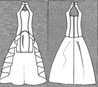 Выкройка платья со шлейфом для костюма рыбки