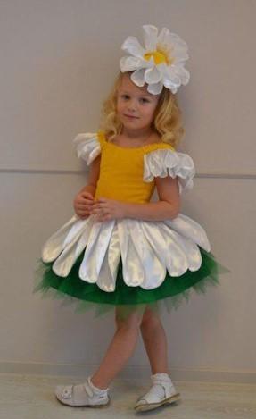 Костюм ромашки на девочке в белых носках и белых сандалиях