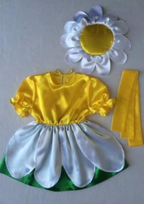 Костюм ромашки из ткани с мягким блеском, с желтым поясом и шапочкой-цветком