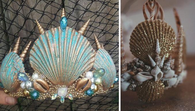 корона русалочки из ракушек