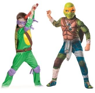 2 черепашки-ниндзя: в фиолетовая маска и в оранжевой