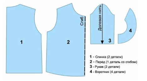 Выкройка рубашки для костюма Незнайки, вариант первый