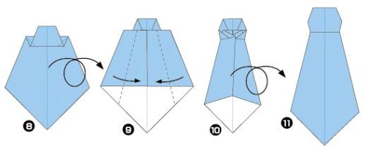 Как сложить галстук для костюма Незнайки из бумаги, завершающий этап