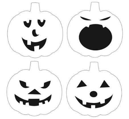 Трафареты для лица тыквы для Хэллоуина