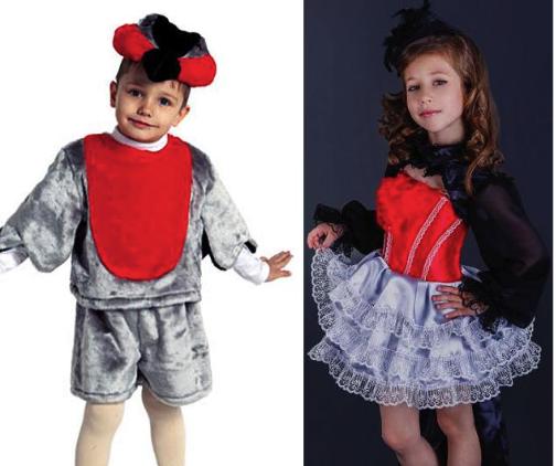 костюмы снегиря для мальчика и для девочки