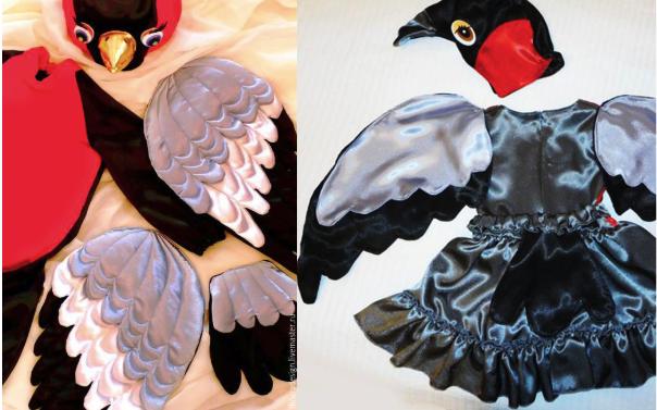 костюм снегиря: крылья, шапочка