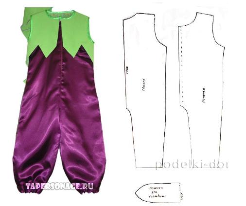выкройка комбинезона для костюма баклажана