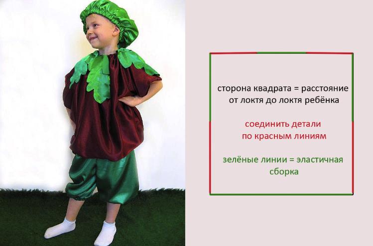 инструкция как сшить костюм свеклы для мальчика
