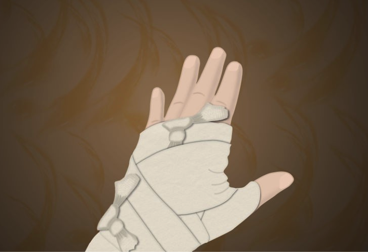 рукава мумии: перевязываем ленты