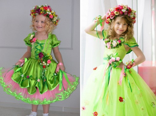 Костюмы весны с цветами для девочек