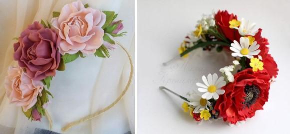 Ободки с цветами для костюма весны