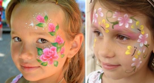 Варианты цветочного грима к костюму весны для девочек