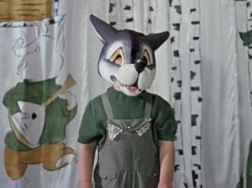 Волк в маске и в зеленой кофте