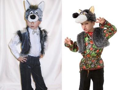 2 волка в жилетке и шапочке-маске: в белой рубашке и в рубашке с рисунком
