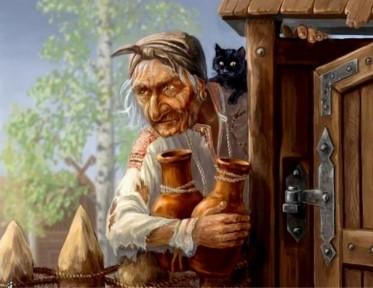 рисунок Яги с кувшинами у калитки