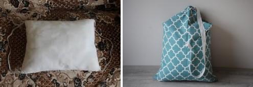 2 картинки: слева подушка, справа рюкзак