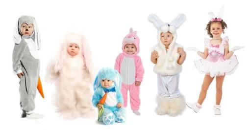 6 детей в костюмах зайца