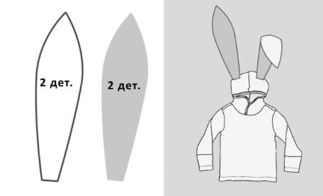 2 заячьих уха и они же на кофте
