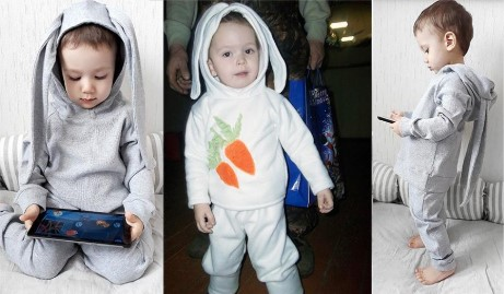 3 зайца: 2 играют в гаджеты, 1 с морковками на кофте