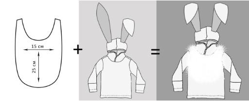 Схема мехового нагрудника, 2 кофты с ушами