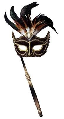 Фото Венецианская маска с перьями (черная)
