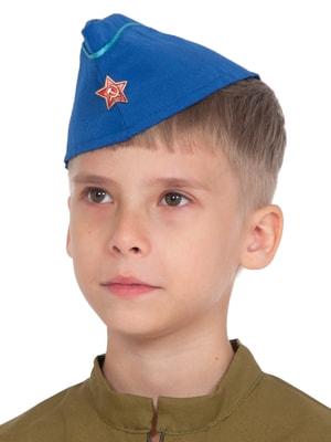 Фото Пилотка Летчика синяя с кантом детская
