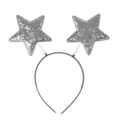 Фото Карнавальный ободок Звезды серебряный