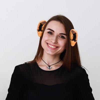 Фото Уши на ободке с волосами