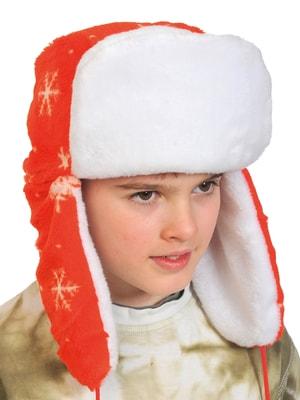 Фото Шапка ушанка зимняя красная детская