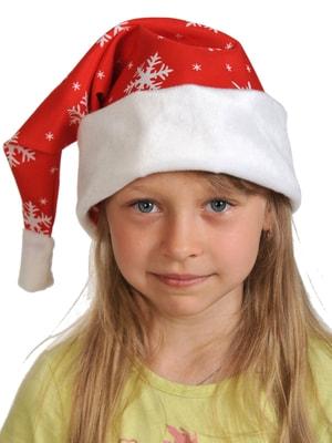 Фото Новогодний колпак красный плюш детский