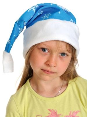 Фото Новогодний колпак синий плюш детский