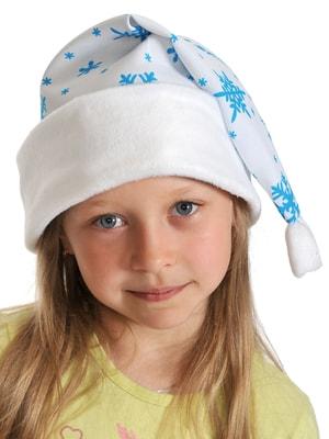 Фото Новогодний колпак белый плюш детский