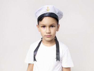 Фото Бескозырка Моряк с темной лентой детская