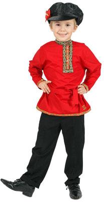 Фото Косоворотка для мальчика (красная) детская