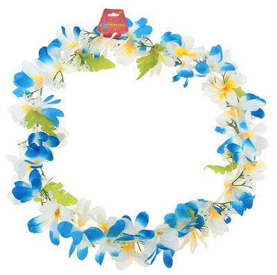 Фото Гавайское ожерелье Ромашки сине-белое