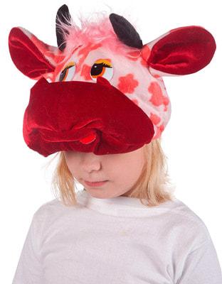 Фото Шапка Корова розовая детская