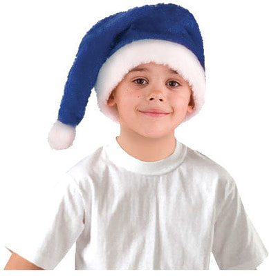 Фото Колпак меховой синий детский
